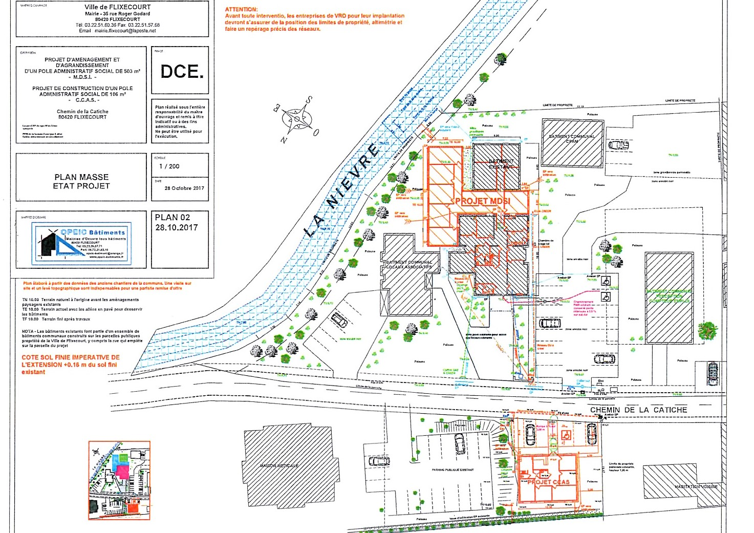 Plan de masse projet mdsi ccas mairie de flixecourt for Projet de plan